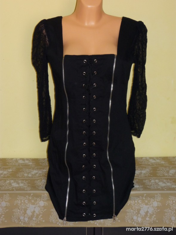 Suknie i sukienki SUKIENKA CZARNA ZIP ROZ 42 KORONKA