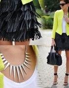 Leather fringed skirt...