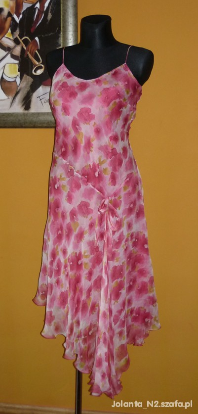 Suknie i sukienki 42 XL DEBENHAMS jedwabna MAXI kwiecista sukienka