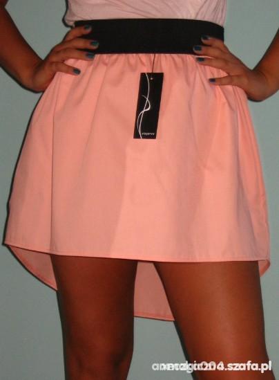 Ubrania spódniczka rozkloszowana guma różowa łososiowa S