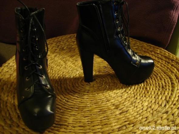 Mega wysokie czarne glam sznurowane botki 38
