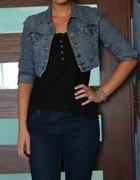 Krótka jeansowa bluza S M