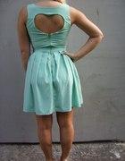serduszkowo miętowa sukienka