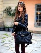 burgund spodnie plus skóra