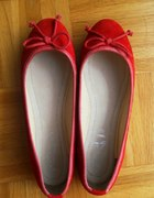 balerinki czerwone skórzane