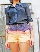 szorty DIY z ćwiekami koszula mgiełka