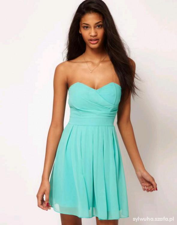 Sukienka miętowa ASOS 34 XS śliczna idealny stan