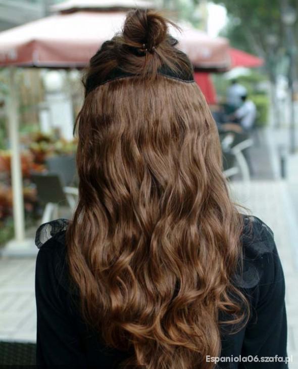 Brązowe Przedłużane 3 Tasmy Włosy Clip In W Ozdoby Na Włosy