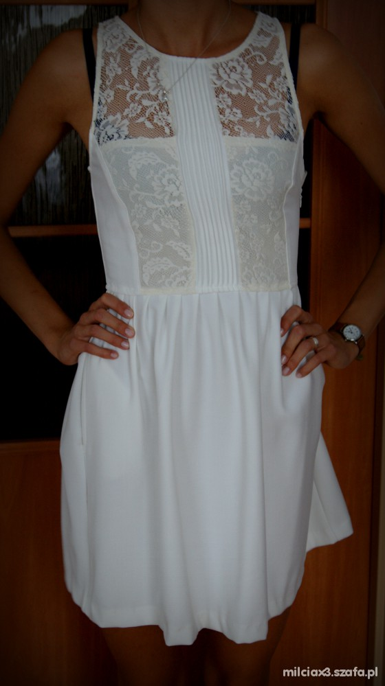 Romantyczne sukienka ecru ZARA