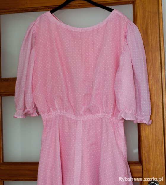 Suknie i sukienki rózowa sukienka w białe groszki