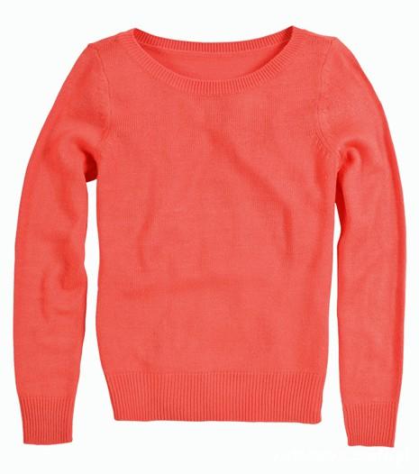 koralowy sweter...