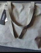 Duża szara zamszowa torba