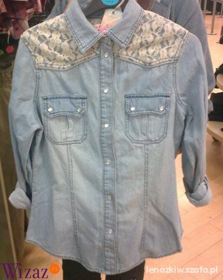Jeansowa koszula z koronką...