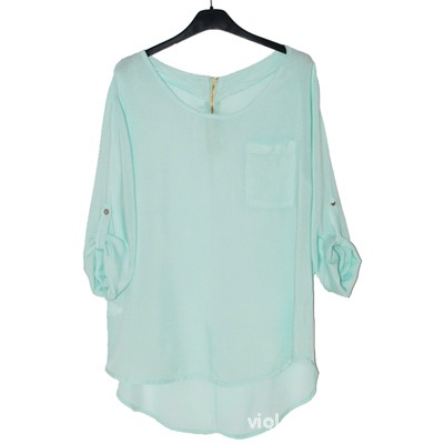 miętowa koszula zipp kieszonka 38