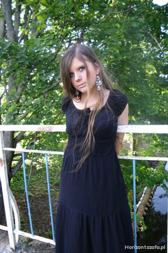 Suknie i sukienki Czarna sukienka do kostek