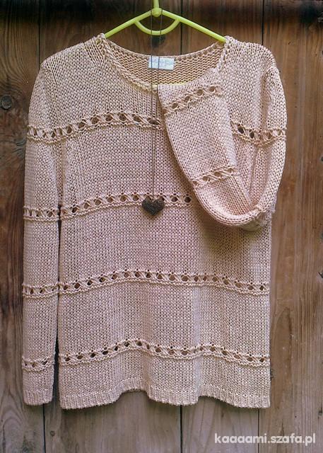 śliczny AŻUROWY sweterek JESIEŃ piaskowy