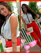 leopard collar red pants