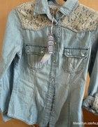 Jeansowa koszula koronka