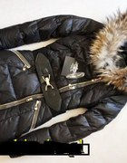 Elegancka kurtka zimowa zipy puterko lisa