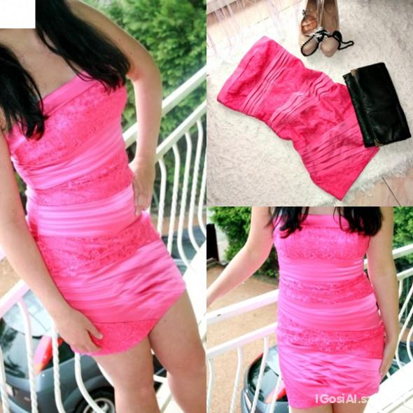 Suknie i sukienki sukienka satynowa z koronka IDEALNA