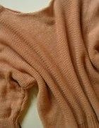 nowy sweter morelowy złota nić długie rękawy