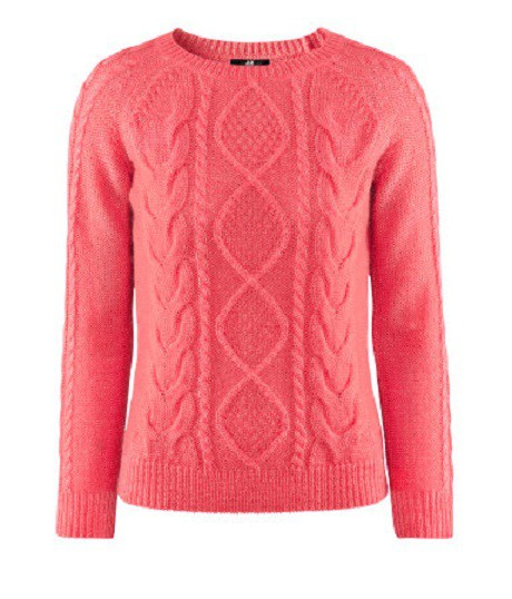 Wełniany sweter koralowy neonowy warkocze h&m...