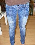 Rurki z przeszyciami marmurki skinny jeansy