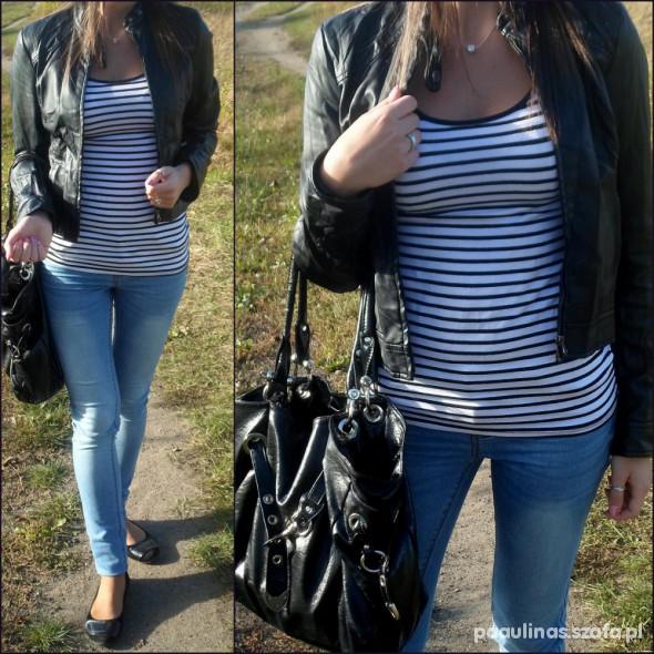 Mój styl biel czerńi jeans