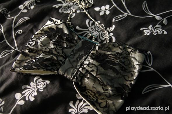 Torebki wieczorowe koronkowa torebka kokardka glamour gothic rock