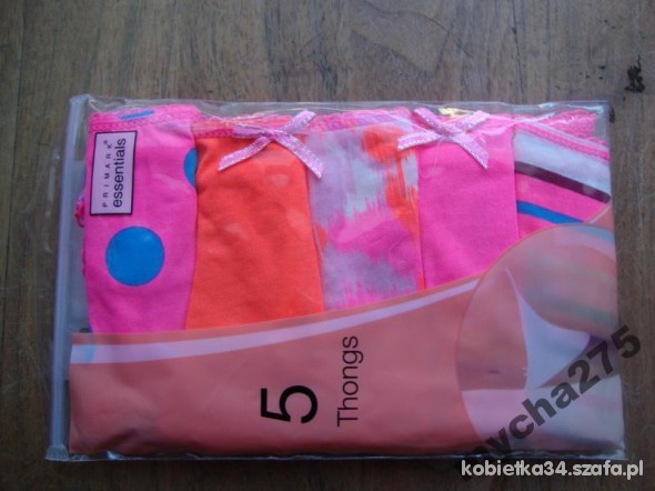 PRIMARK 5PACK STRINGOW PINK S