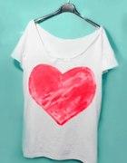 koszulka DIY mega SERCE off shoulder oversize