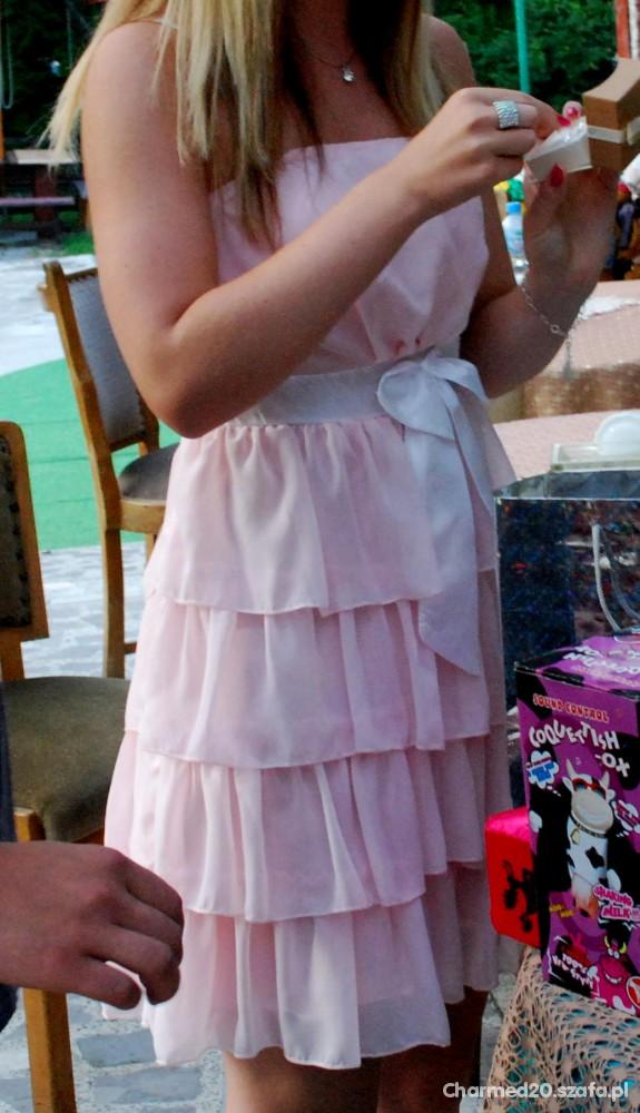 Eleganckie Pudrowa sukienka