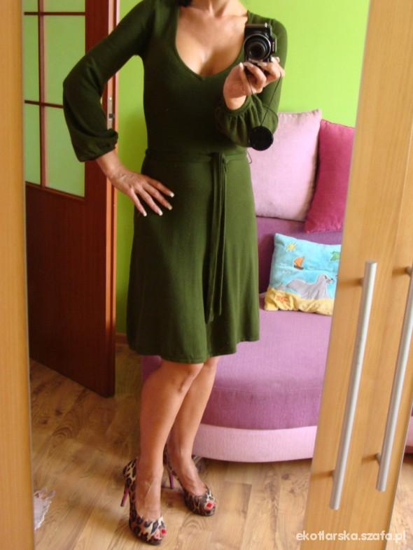 Eleganckie Zielona Dzianinowa Zara