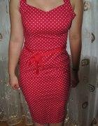Czerwona Sukienka w białe groszki