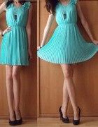 Miętowa sukienka plisowana sukienka mięta plisy 36