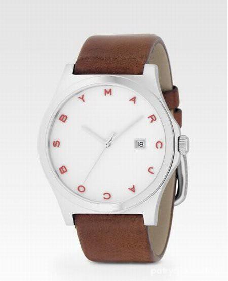 Zegarek na brązowym pasku...