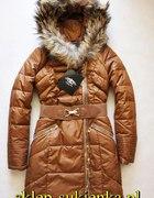 Puchowy karmelowy płaszcz rachel roy