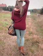 nowy bordowy sweter 80 cm długości