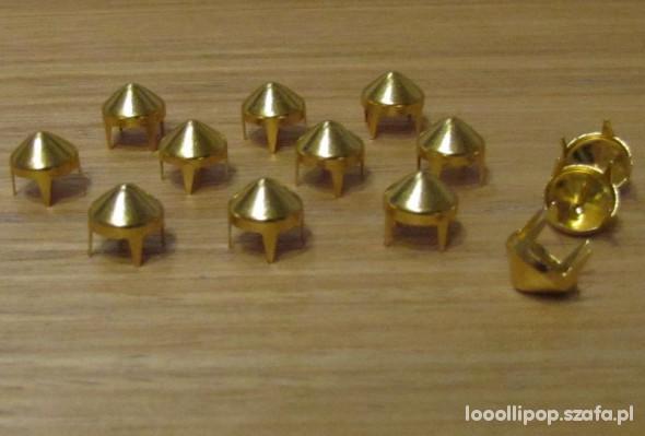 Pozostałe Złote Ćwieki stożki kolce okrągle śred 9mm wys 8mm