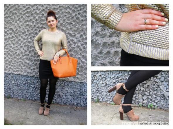 Mój styl Polska złota jesień w złotym sweterku