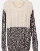 Biało szary sweter