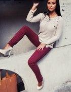 spodnie burgund bordo 36