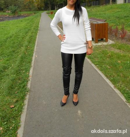 Mój styl Cieply sweterek i skorzane spodnie