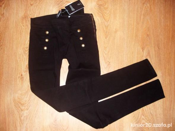 Spodnie Złote guziki zip XS S Stradivarius NOWE