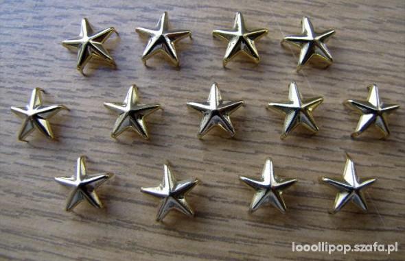 Pozostałe Złote ćwieki gwiazdki gwiazdy pukle