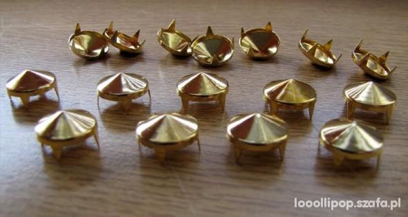 Pozostałe Złote Ćwieki stożki kolce okrągle śred 12mm wys7mm