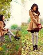 jesienny zestaw płaszcz taliowany rozkloszowany