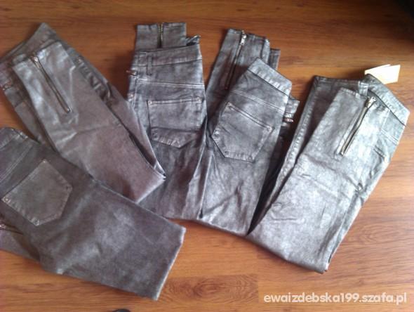 Spodnie Nowe metaliczne zipp Tanio H&M