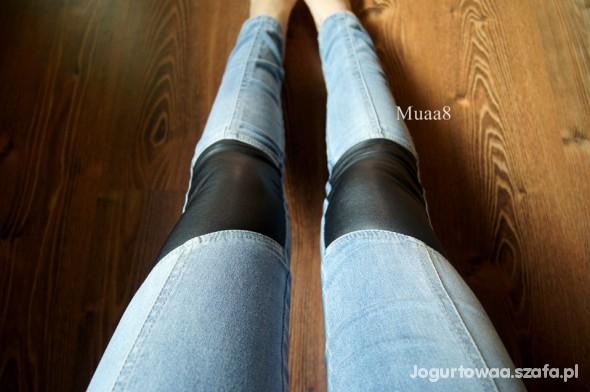 Spodnie TREGGINSY CUBUS skórzane wstawki rurki jeans S