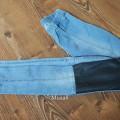 TREGGINSY CUBUS skórzane wstawki rurki jeans S